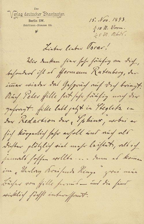 1529: Scheerbart, Paul: Brief 1893