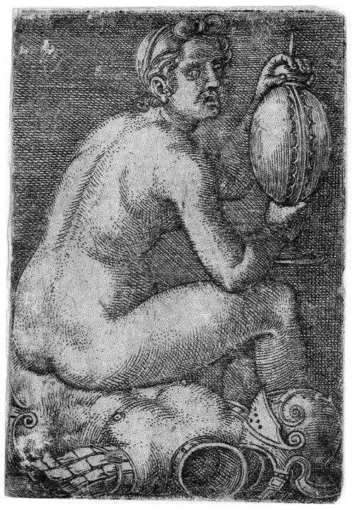 5018: Beham, Barthel: Nackte Frau auf einer Rüstung sit