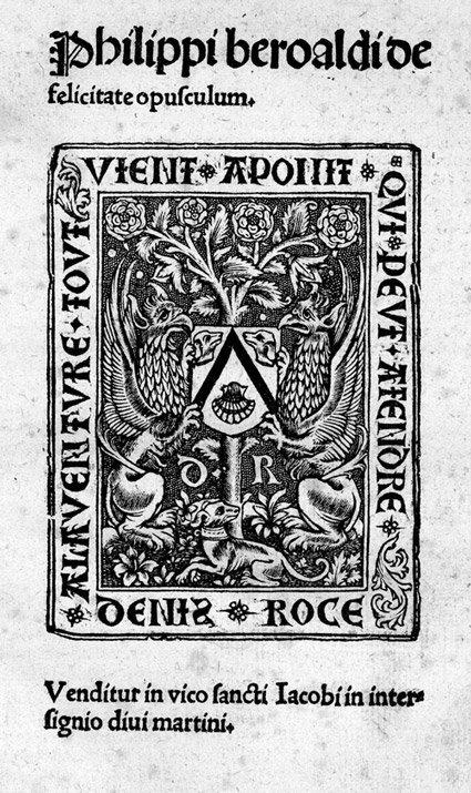 807: Beroaldus, Philippus: De felicitate opusculum