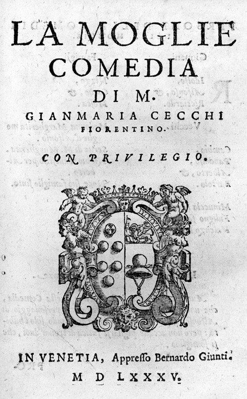 814: Cecchi, Gianmaria: Comedie. Libro primo
