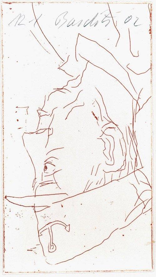 6815: Baselitz, Georg: Selbstporträt mit Schiffermütze