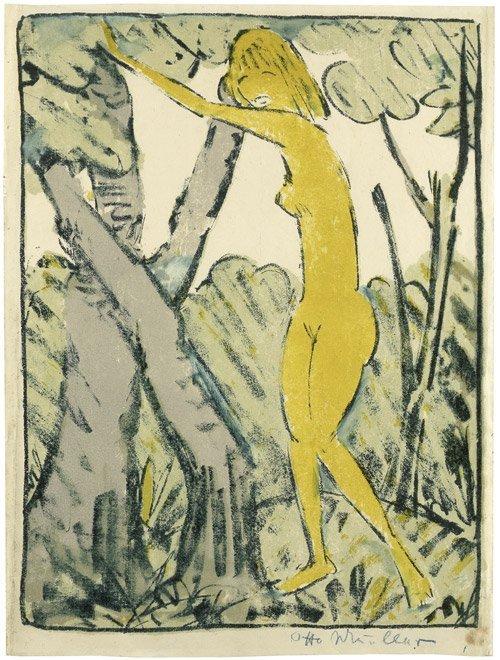 7085: Mueller, Otto: Zwischen Bäumen stehendes Mädchen