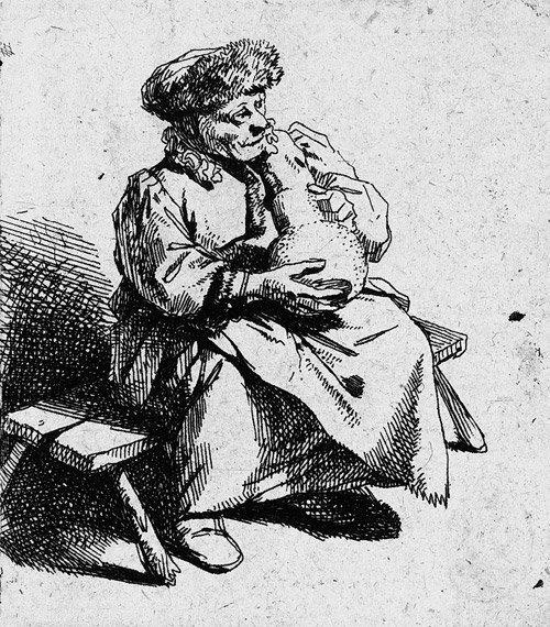 5011: Bega, Cornelis: Raucher; Sitzende Frau mit großem