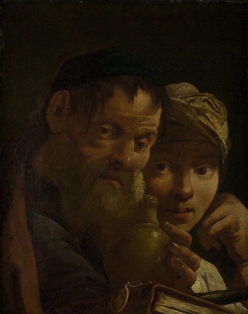 6301: Caravaggio Nachfolge: Gelehrter mit einem Schüler