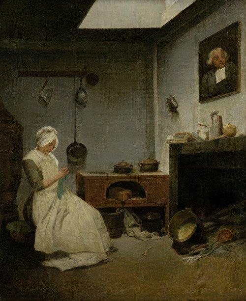 6309: Englisch, 18. Jh.: Kücheninterieur mit strickende