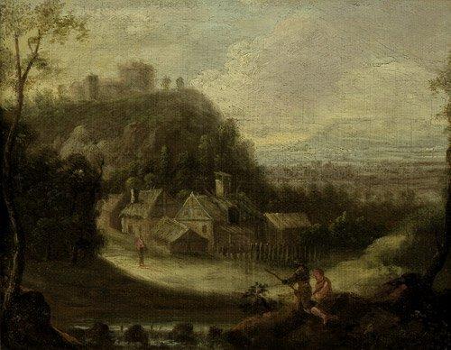 6310: Flämisch, spätes 17. Jh.: Landschaft mit Anglern