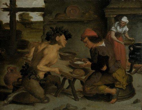 6320: Niederländisch, 17. Jh.: Der Satyr beim Bauern
