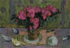 7968: Straßner, Ernst: Stilleben mit rotem Blumenstrauß