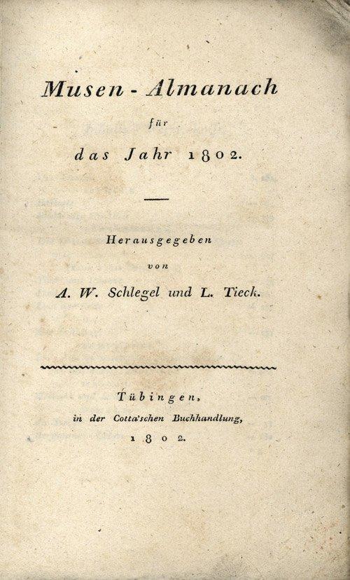 1813A: 1813A: Schlegel, August Wilhelm: Musen-Almanach