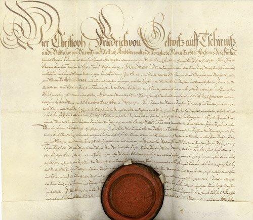 2678: 2678: Gestwitz, Christoph Friedrich von: Urkunde