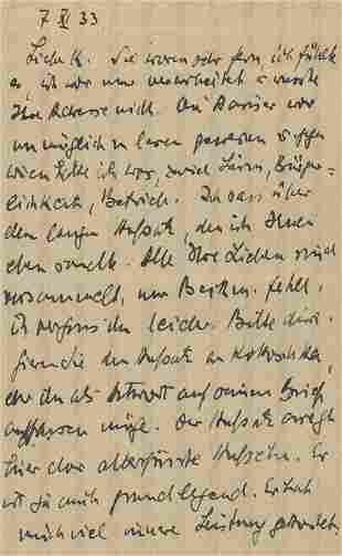 Benn, Gottfried: Brief 1933