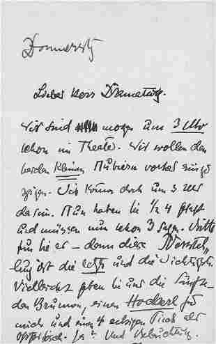 Lasker-Schüler, Else: Brief 1910