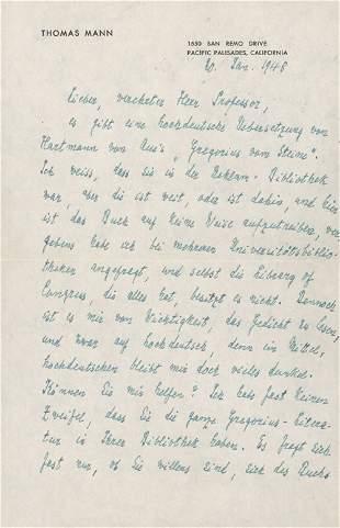 Mann, Thomas: 6 eigh. Briefe an Samuel Singer