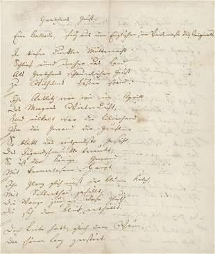 Seume, Johann Gottfried: Signiertes Gedichtmanusk