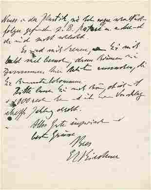 Kirchner, Ernst Ludwig, : Eigh. Brief m. U. 1929