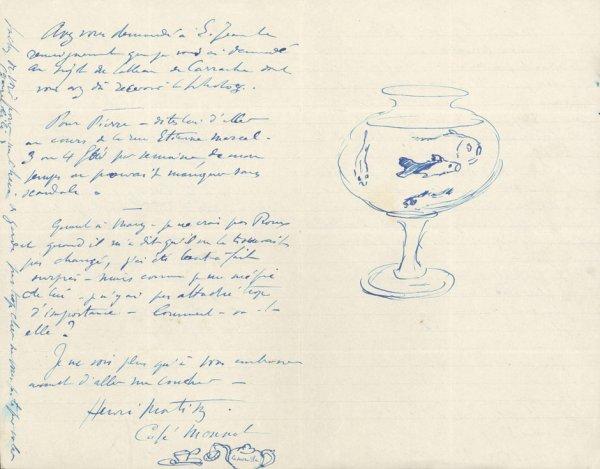2246: Matisse, Henri: Brief mit Federzeichnungen 1921