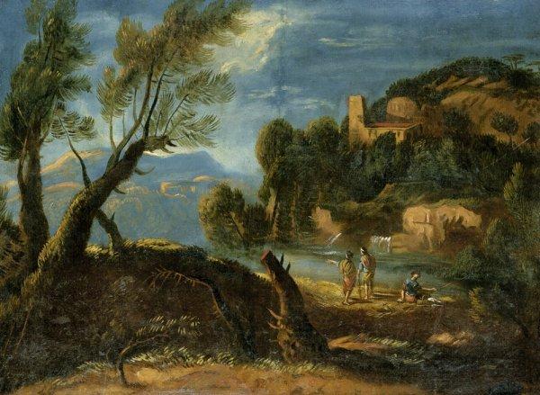 6014: Italienisch, um 1700: Italienische Landschaft mit