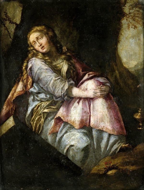 6016: Bolognesisch, um 1600: Maria Magdalena am Grab Ch