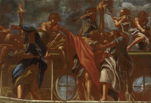 6020: Italienisch, 17. Jh.: Drei Apostel an einer Brüst