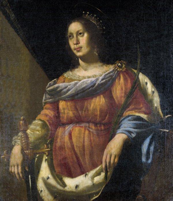 6021: Neapolitanisch, 17. Jh. : Die hl. Katharina von A