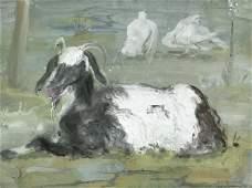 8124: Hegenbarth, Josef: Lagernde Ziege; Selbstbildnis