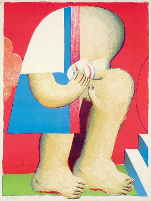 6405: Antes, Horst: Maskierte Figur mit Treppe