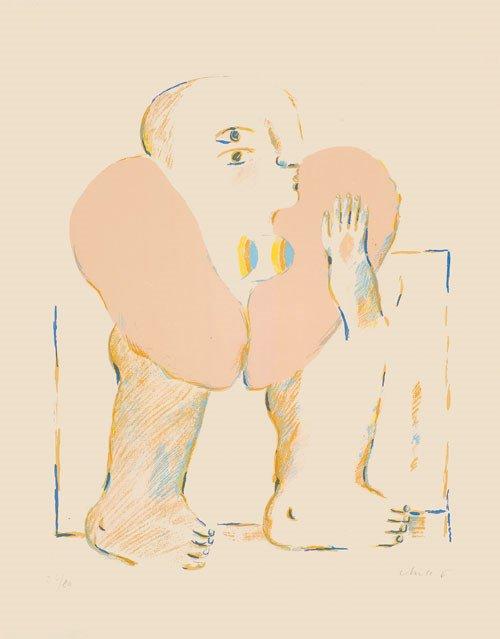 6406: Antes, Horst: Weibliche Figur mit rosafarbiger Bo