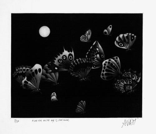 6408: Avati, Mario: Manière noire aux 13 papillons