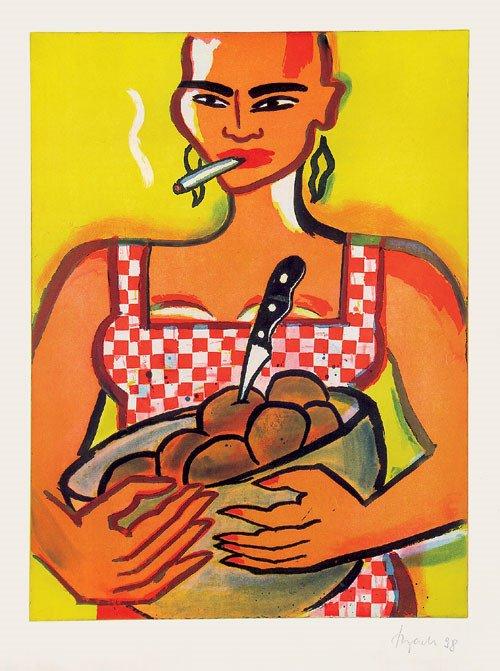6412: Bach, Elvira: Frau mit Obstschale und Zigarette