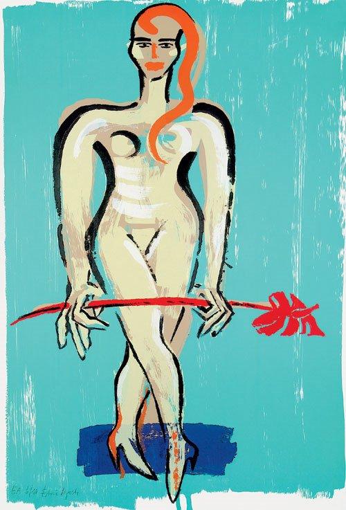 6413: Bach, Elvira: Frau mit rotem Anthurium