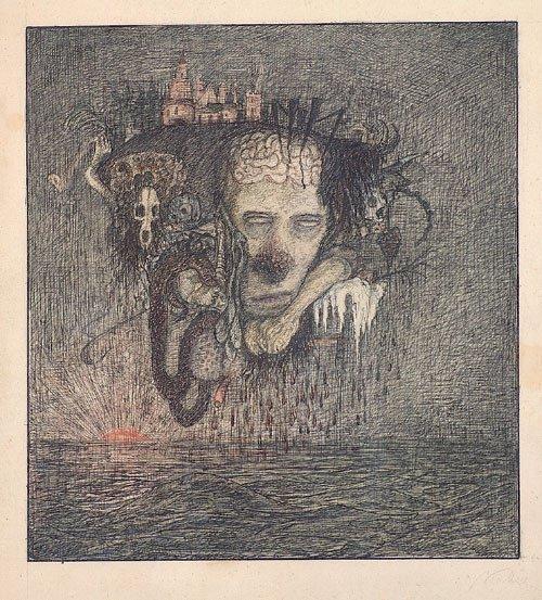 6680: Kubin, Alfred: Rätselhafter Kopf über dem Wasser