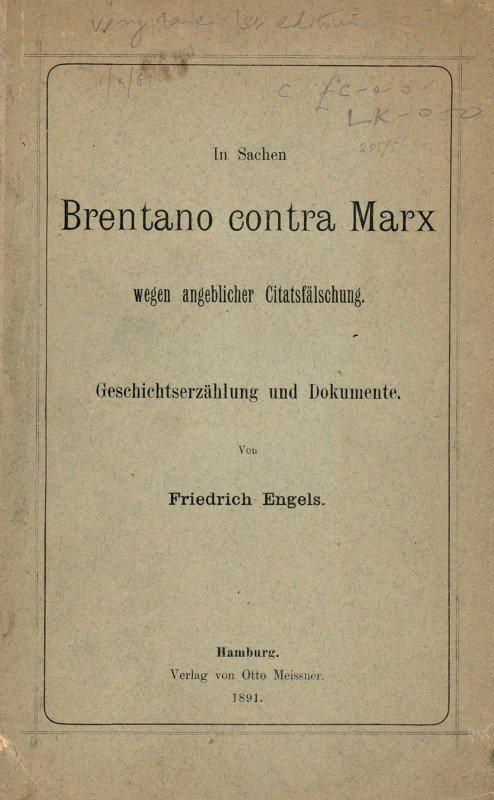 1519: Engels, Friedrich: In Sachen Brentano contra Marx