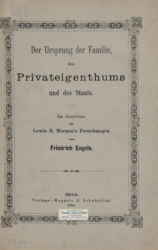 1525: Engels, Friedrich: Der Ursprung der Familie. EA.