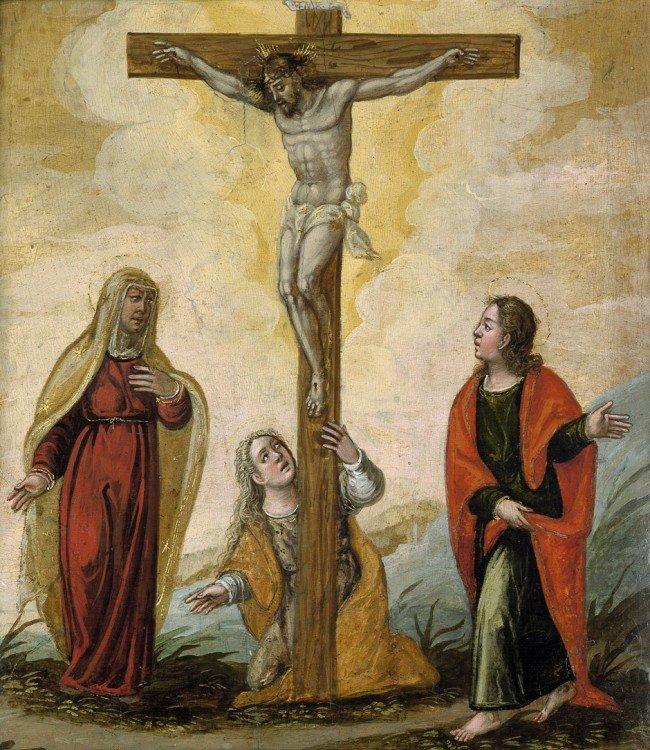 6000: Spanisch, um 1600: Die Kreuzigung mit Maria und J