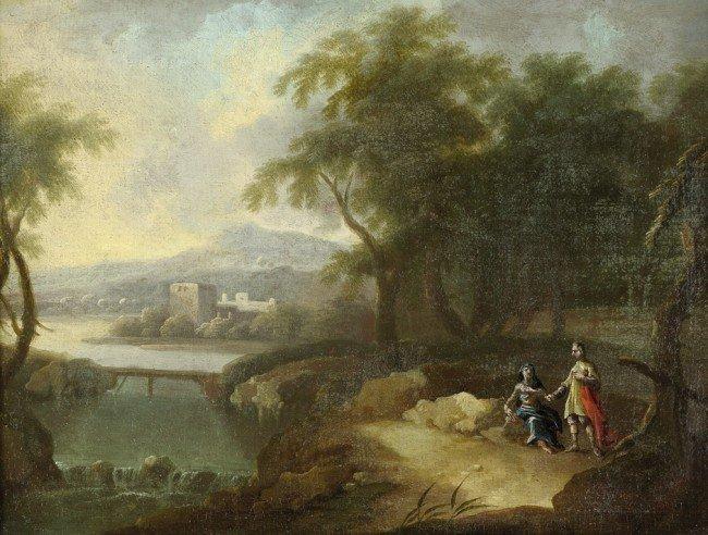 6010: Französisch, um 1700.: Flußlandschaft mit rastend