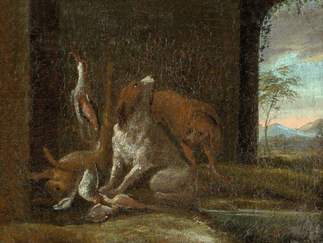 6012: Gryeff, Adriaen de - Umkreis: Jagdstück mit Hunde