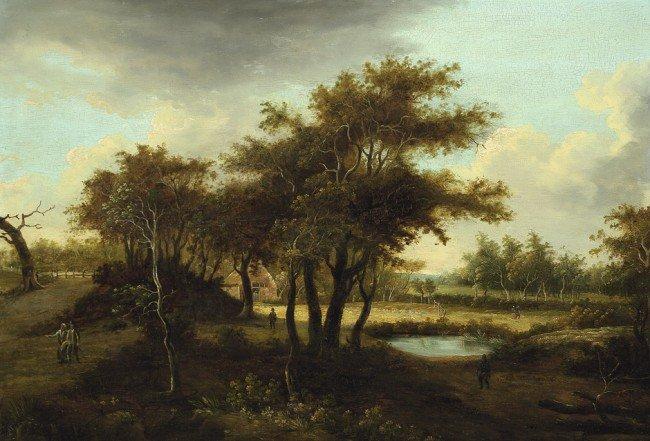 6014: Niederländisch, um 1700: Landschaft mit Eichengeh