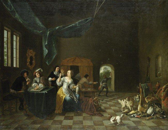6016: Flämisch, um 1700: Interieur mit lustiger Gesells