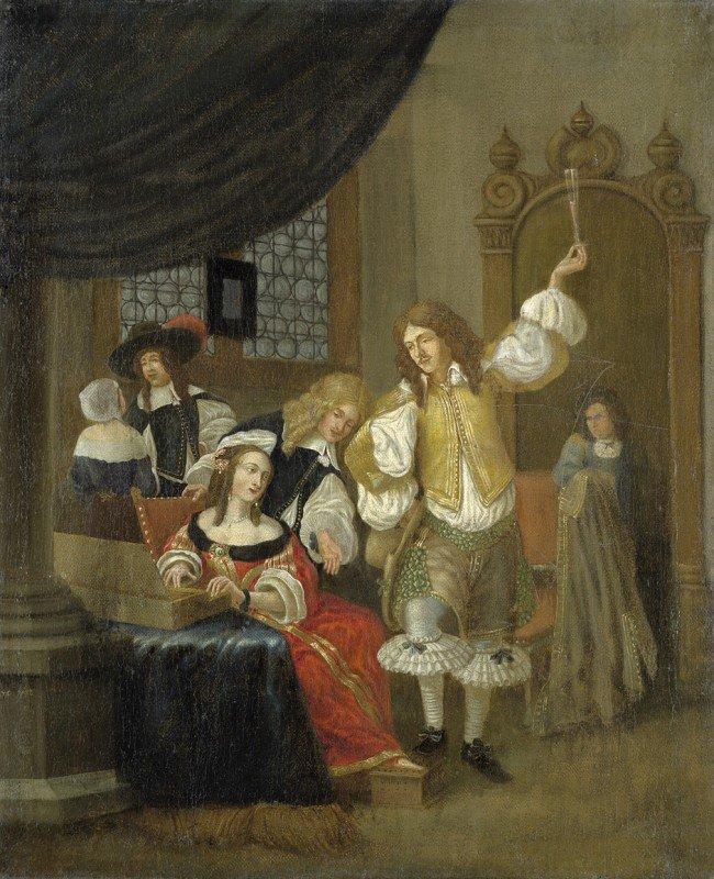 """6018: Niederländisch, 18. Jh.: """"Roos"""": Interieur mit Ka"""