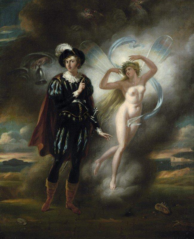 """6087: Englisch, um 1830: Szene aus Byrons """"Ritter Herol"""