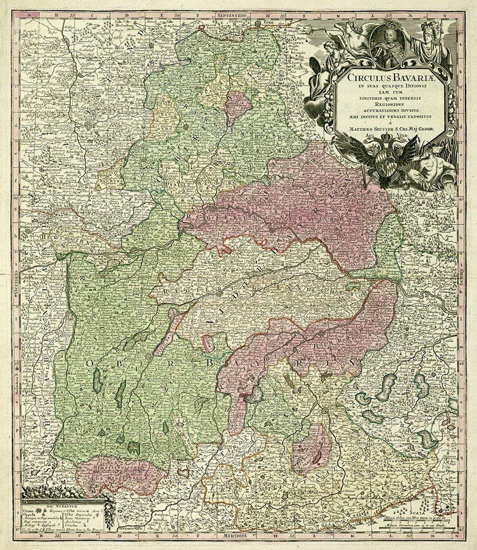 6: Bayern / Schweiz (Seutter/Schenk): Circulus Bavariae