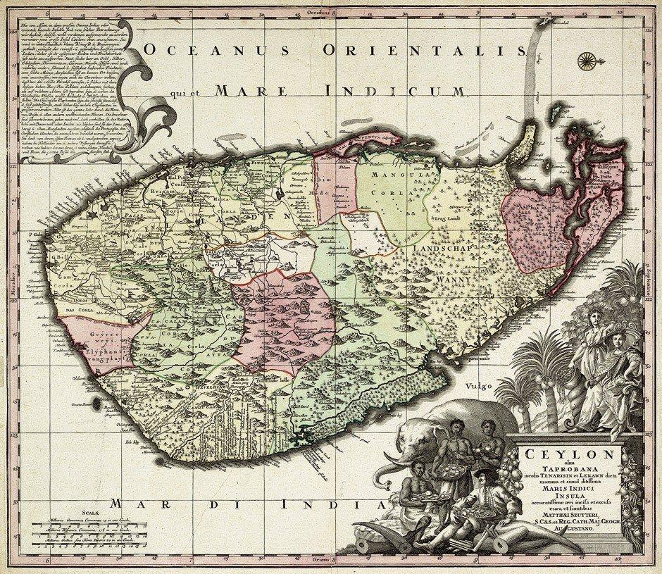 11: Ceylon (Seutter): olim Taprobana