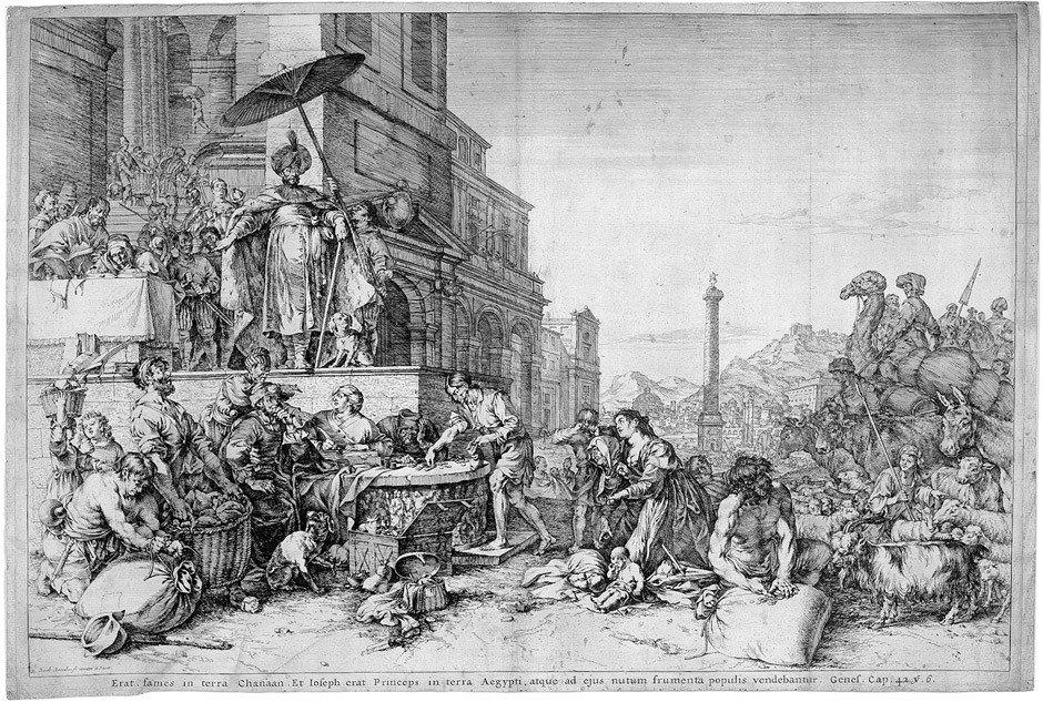 5016: Bisschop, Jan de: Joseph verteilt das Korn in Ägy