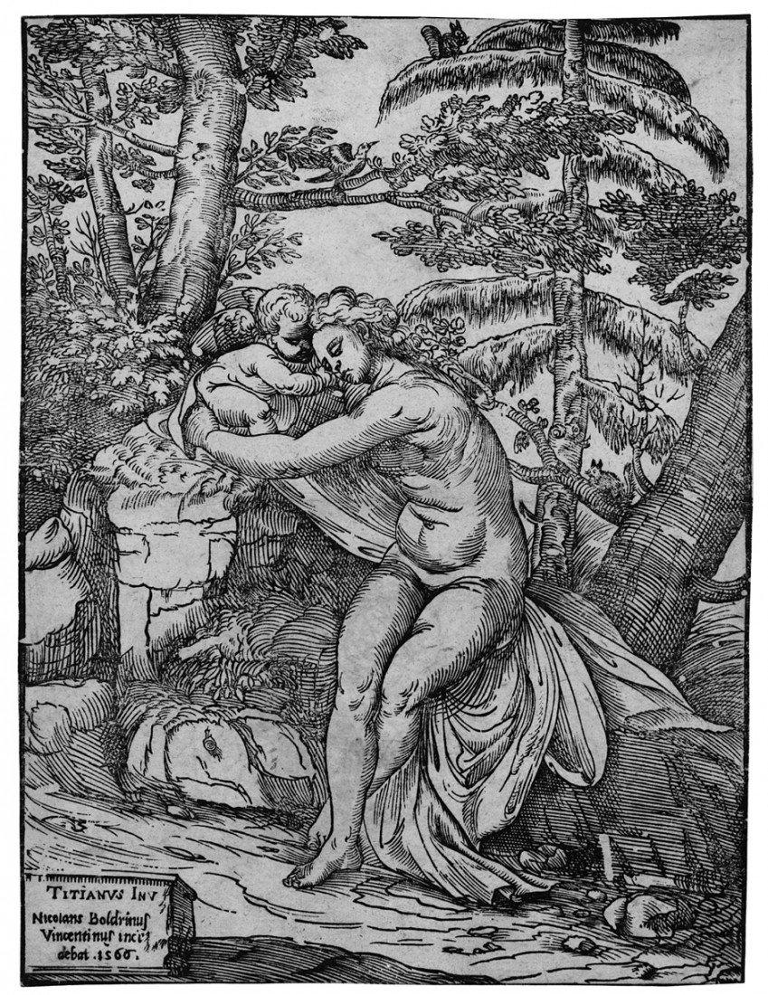 5020: Boldrini, Nicolò: Venus und Amor in einer Landsch
