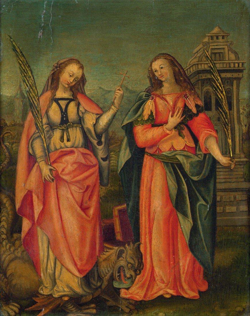6000: Flämisch, 16. Jh.: Die Heiligen Margarethe und Ba