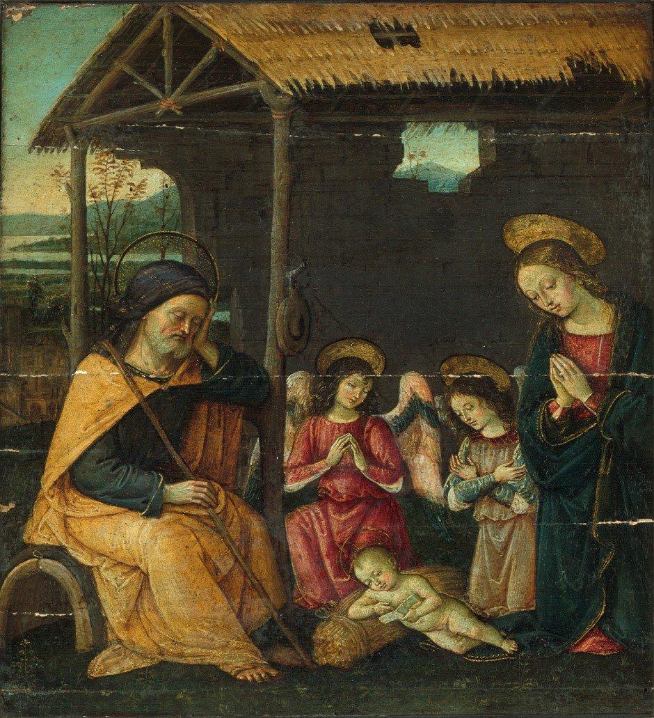 6001: Umbrische Schule, um 1490: Die Geburt Christi