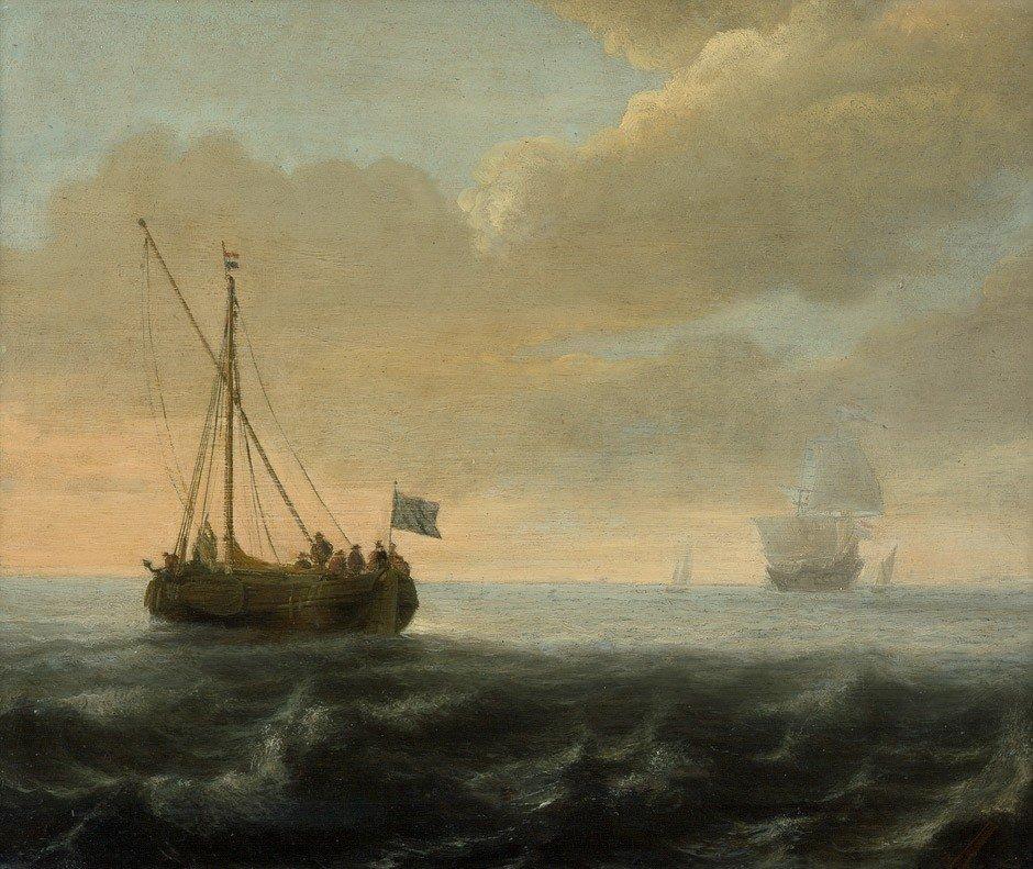 6011: Vlieger, Simon de: Schiffe auf ruhiger See, Dreim