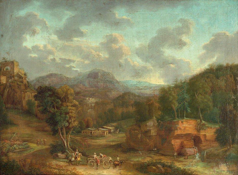 6014: Niederländisch, um 1700: Idyllische weite Berglan