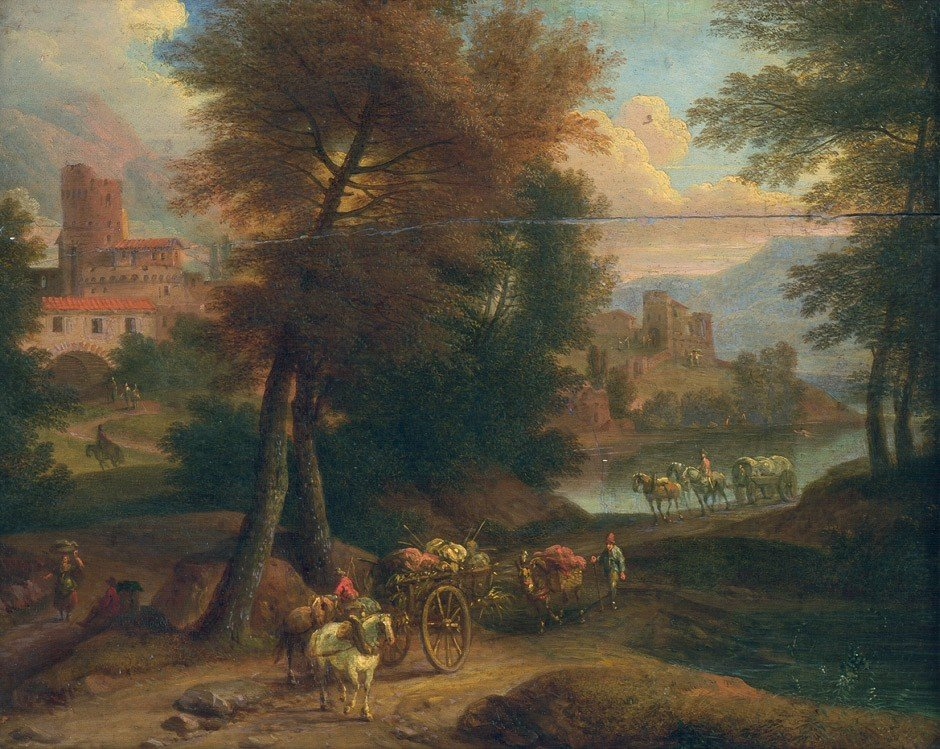 6015: Bloemen, Pieter van - Umkreis: Flusslandschaft mi