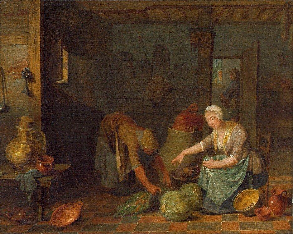 6019: Flämisch, 1. Hälfte 18. Jh.: Küchenszene mit zwei